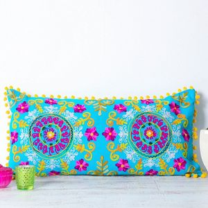Handmade Embroidered Turquoise Bolster Cushion