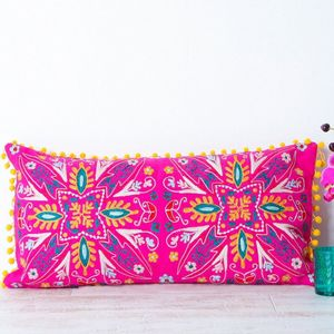 Handmade Embroidered Pink Bolster Cushion - embroidered & beaded cushions