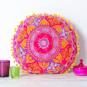 Handmade Embroidered Pink Round Cushion