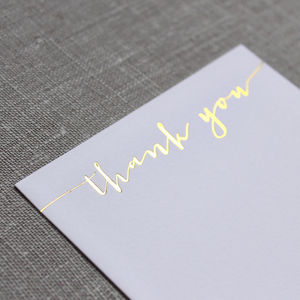 Gold Foil Thank You Cards In Modern Calligraphy Script - on trend: metallics