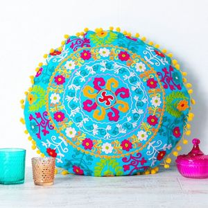 Handmade Embroidered Turquoise Round Cushion