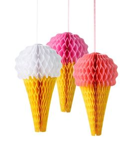 Pink Ice Cream Honeycomb Decorations