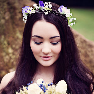 Sophia Sweet Pea And Gypsophila Headband