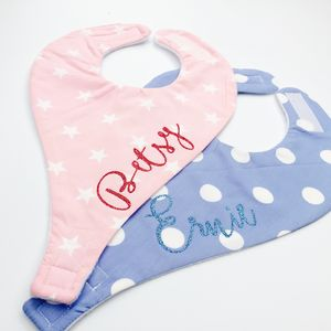Personalised Dribble Bib With Dummy Holder - baby care