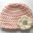 Light Pink with Cream Flower Beanie