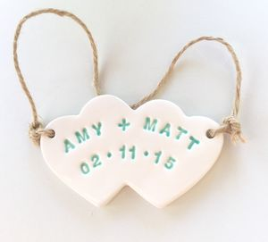 Personalised Ceramic Hearts Charm - personalised wedding gifts