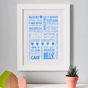 Personalised 'Loves' Print - 40th birthday gifts