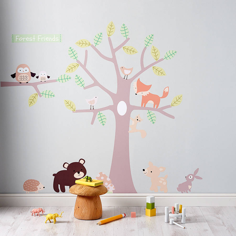 Pastel forest friends wall stickers by parkins interiors - Stickers muraux repositionnables bebe ...