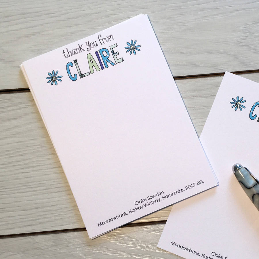 Thank You Personalised Notecards