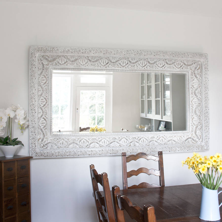 Two metre large 39 shabby chic 39 whitewashed mirror by for Fancy white mirror