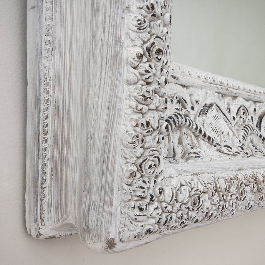Two metre large 39 shabby chic 39 whitewashed mirror by for Large white decorative mirror