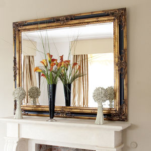 Classic Ornate Black And Gold Mirror - bedroom