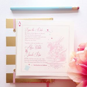 Adorable Alice Save The Date Card - invitations