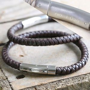 Engraved Men's Brown Leather Bracelet - gifts for fathers