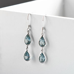 Sterling Silver Double Blue Topaz Teardrop Earrings - earrings