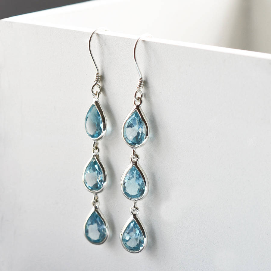 q drop jewellery bt evon long multi products hue topaz jewelry terrestra longdrop blue earrings