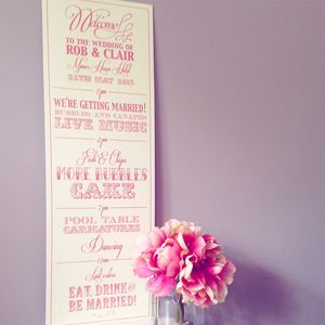 Bespoke Order Of Day Board - wedding stationery