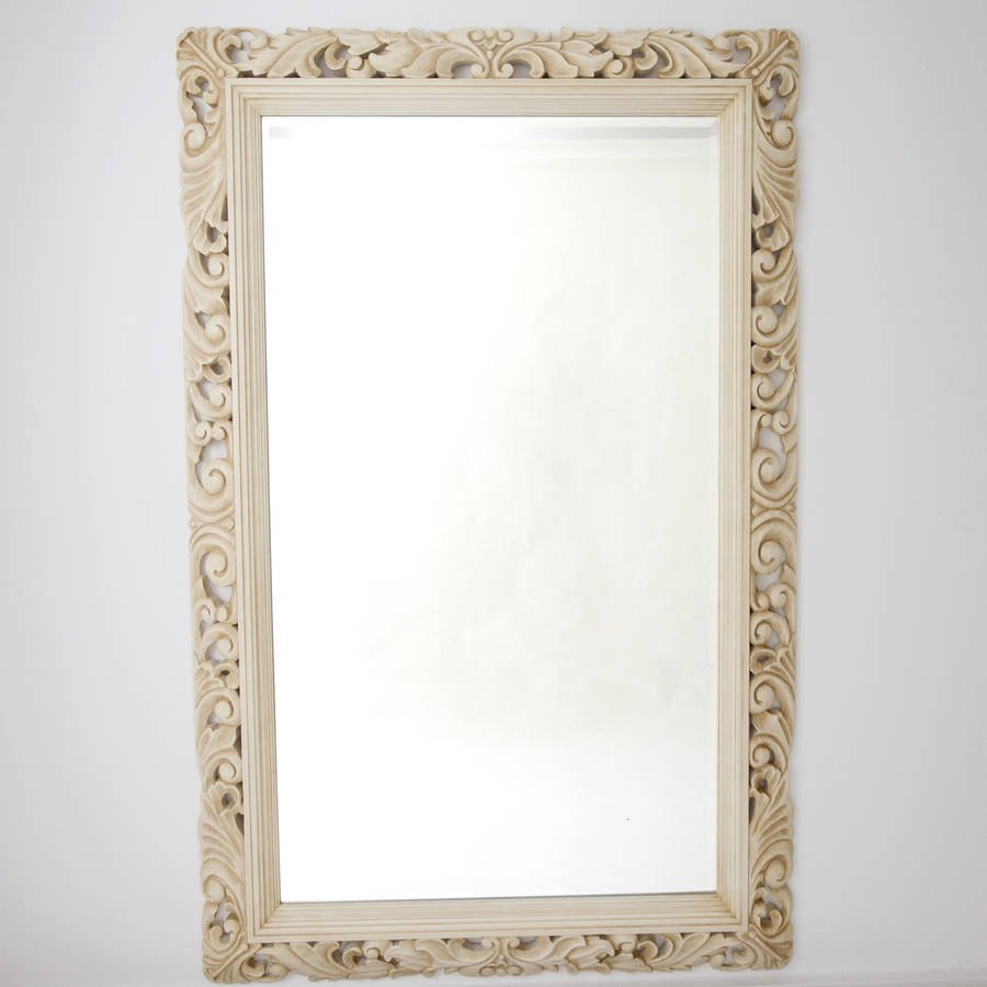 Carved wood ivory framed mirror by decorative mirrors for Fancy mirror
