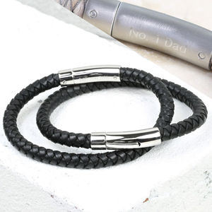 Engraved Men's Black Leather Bracelet