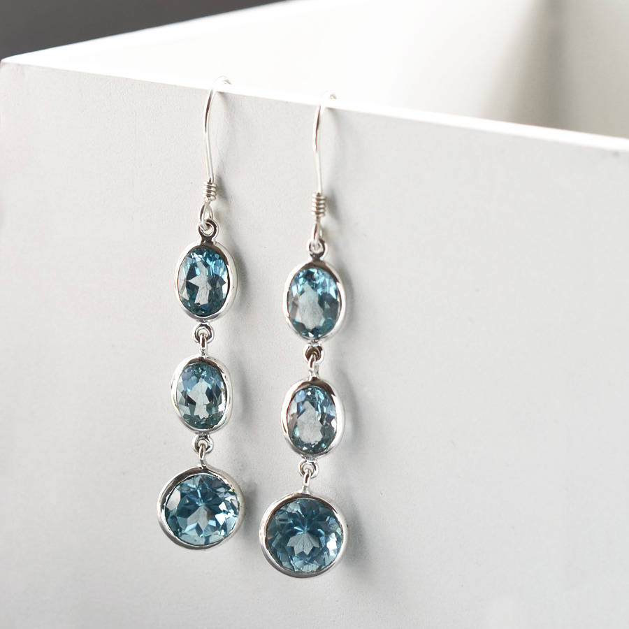earrings blue white topaz gold