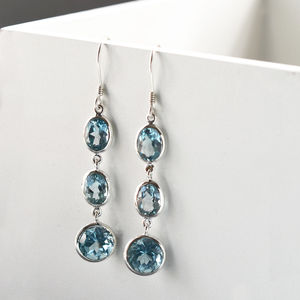 Sterling Silver Long Blue Topaz Earrings - earrings