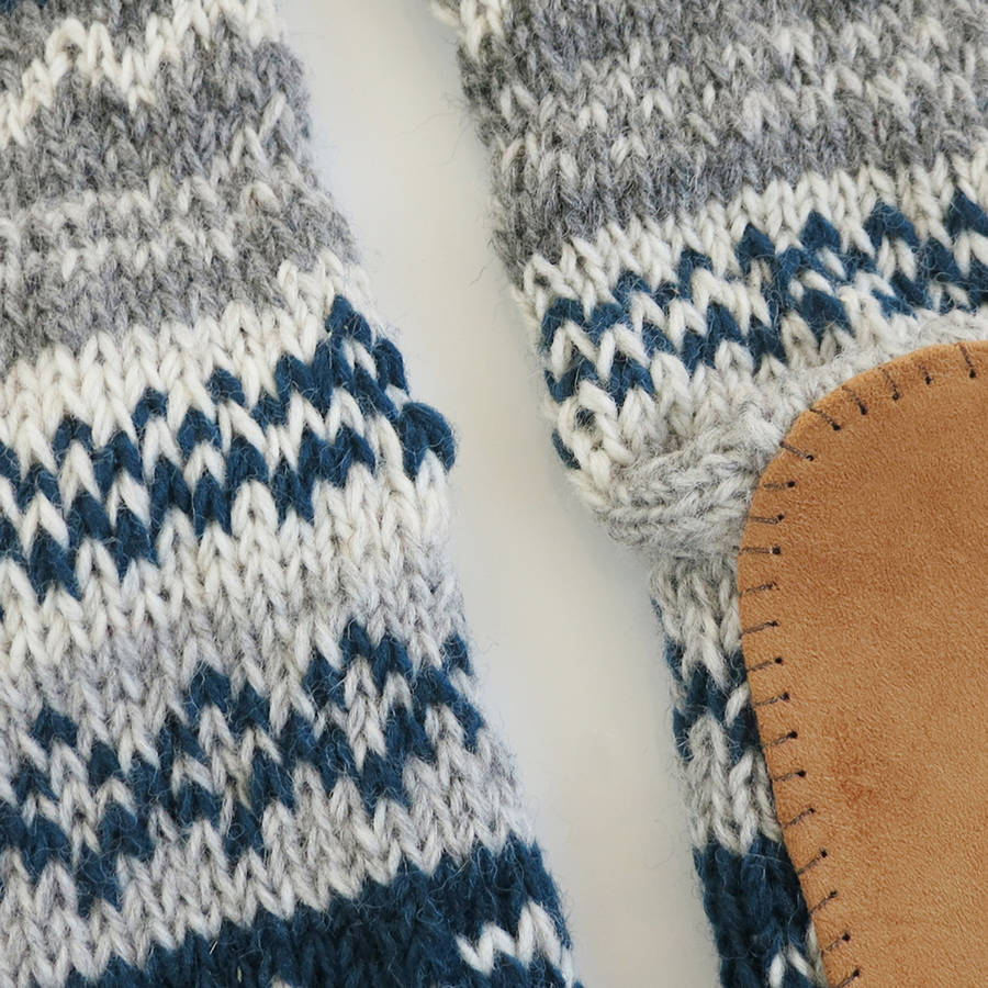 Knitting Pattern For Long Slippers : long knit slipper socks with faux suede sole by aura que ...