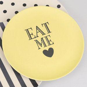 'Eat Me' Bamboo Melamine Plate - garden sale