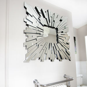 All Glass Square Contemporary Mirror - mirrors