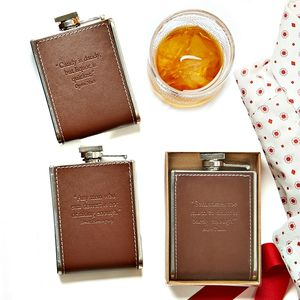 Brown Embossed Liquor Is Quicker Hip Flask