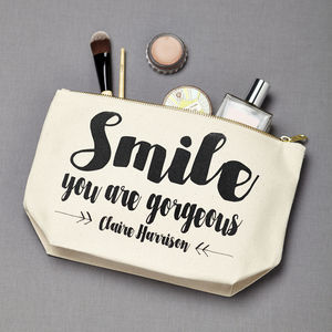 Personalised 'Smile You Are Gorgeous' Make Up Case - gifts for friends