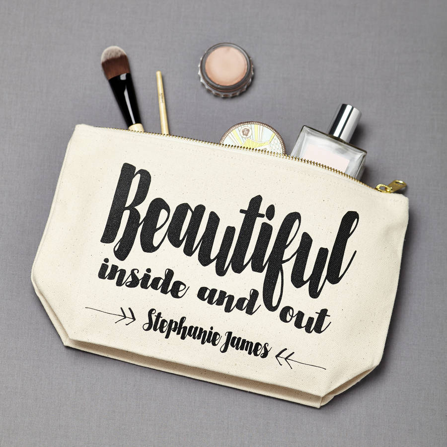 Personalised 'Beautiful Inside And Out' Make Up Pouch