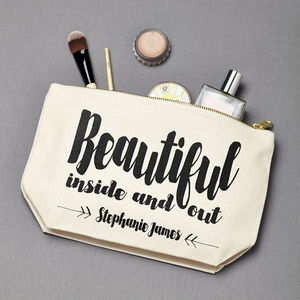 Personalised 'Beautiful Inside And Out' Make Up Pouch - make-up & wash bags