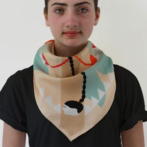 Braids And Profiles Silk Square Scarf