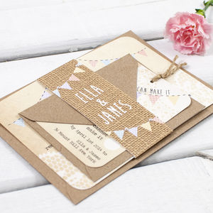 Lace Burlap And Bunting Wedding Invitation Bundle - wedding stationery