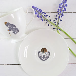 Dancing Bear Tea Cup And Saucer 24 Carat Gold Detail