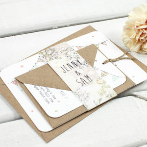 Floral Patchwork Bunting Wedding Invitation Bundle - invitations