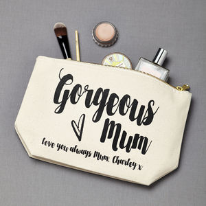 Personalised 'Gorgeous Mum' Make Up Pouch - make-up & wash bags