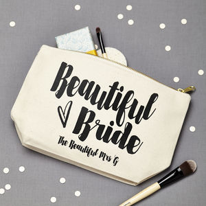 Personalised 'Beautiful Bride' Make Up Pouch - make-up bags