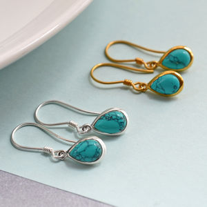 Silver Or Gold Turquoise Teardrop Earrings - earrings