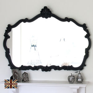Renaissance Black Overmantel Mirror - decorative accessories