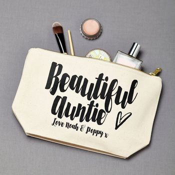 Personalised 'Beautiful Auntie' Make Up Pouch