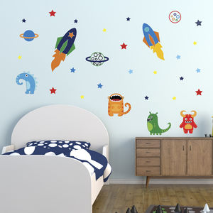 Aliens In Space Wall Sticker Set - wall stickers