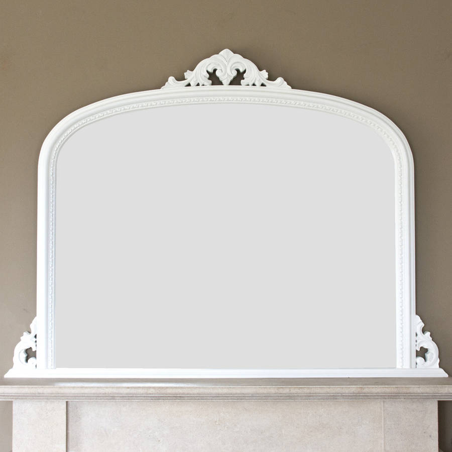 White Beaded Edge Overmantel Fireplace Mirror By