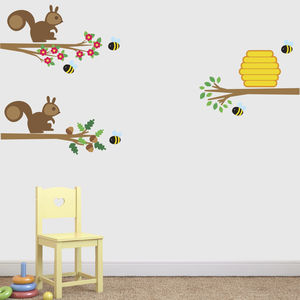 Squirrels And Bees On Branches Wall Sticker