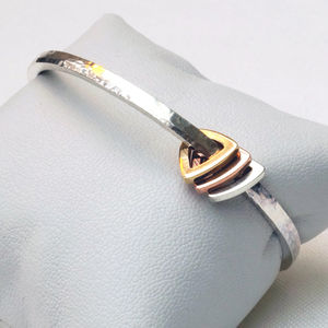 3mm Silver Bangle With Triangle Charms