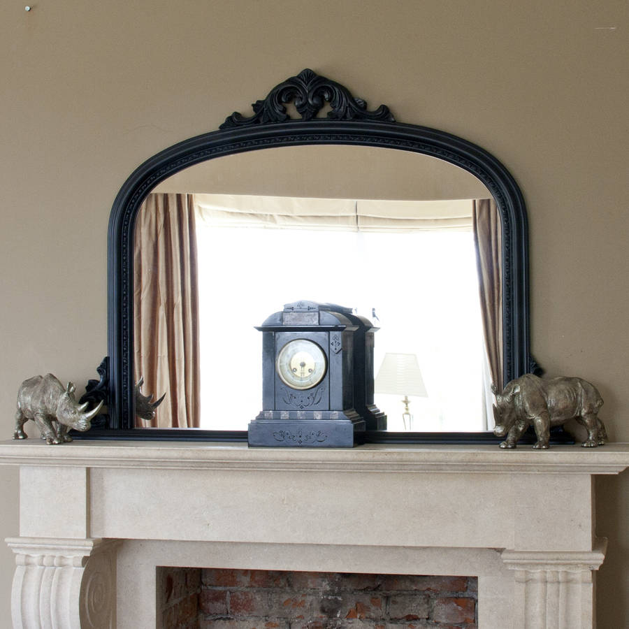 Decorative Mirrors Online Matt Black Beaded Overmantel