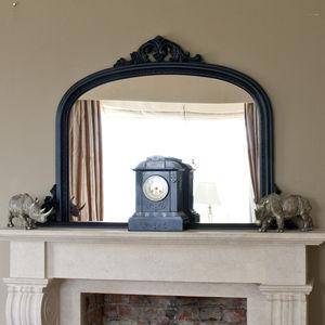 Matt Black Beaded Overmantel Mirror - mirrors