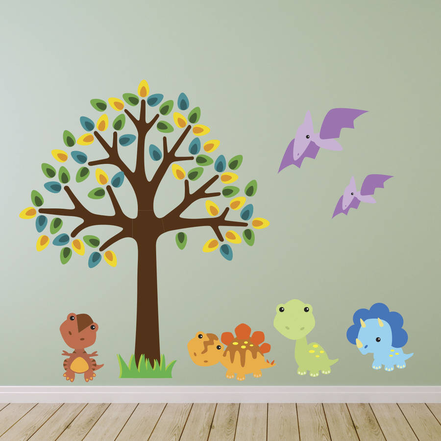 Tree With Baby Dinosaurs Wall Sticker By Mirrorin