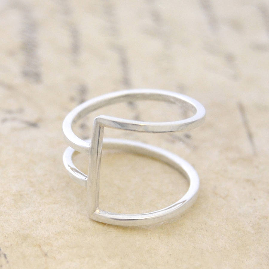 geometric silver square wire ring by otis jaxon silver jewellery ...