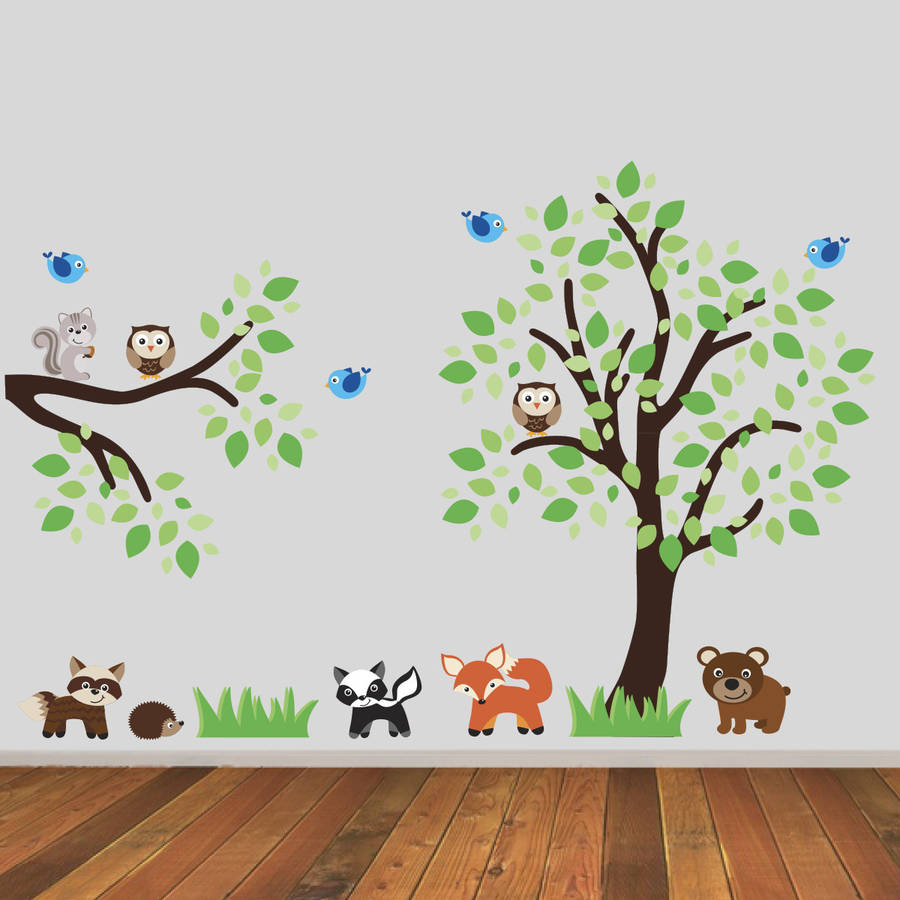 tree and branch with woodland animals wall sticker by ...